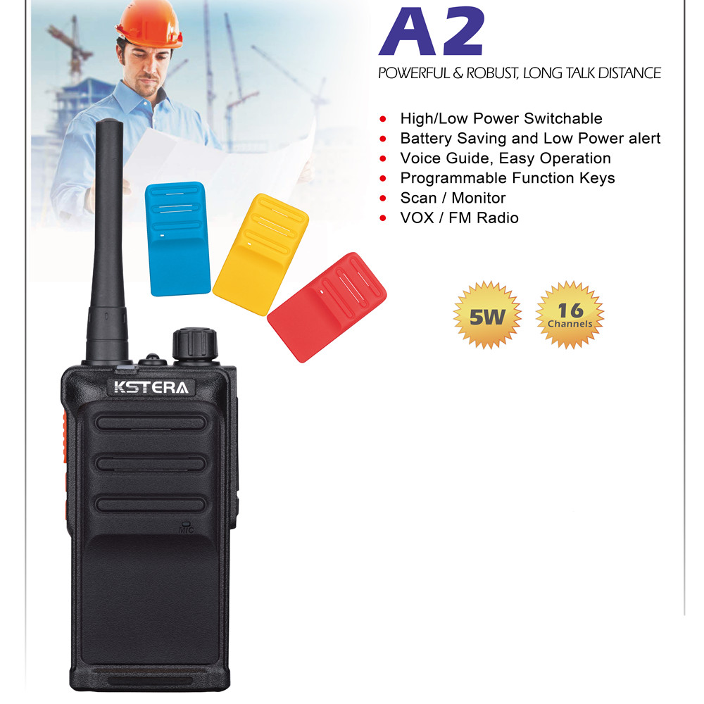 2PCs KST A2 5W UHF Portable Ham Two Way Radios with 4 Colors Changeable Cover Long