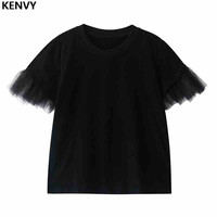 KENVY Brand fashion women's high end luxury summer casual stitching mesh black loose short sleeved T shirt Top Tees