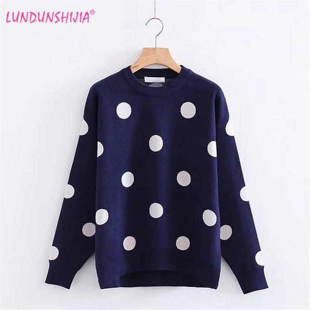 LUNDUNSHIJIA High Quality Dehaired Angora Sweater Women Winter Pullover  Circle Dots Knitted Sweaters For Women Female e628d0f760af