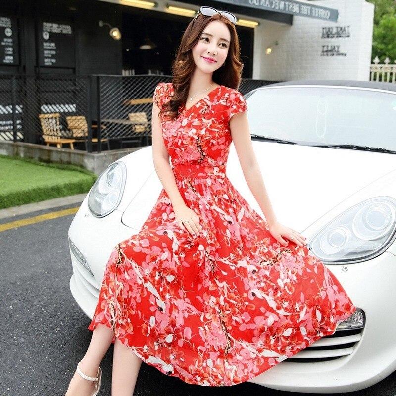 Chiffon One Piece Summer New Print V Neck Slim Long Floral Short Sleeve Dress TB7537