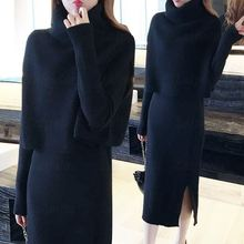Two Piece Sets Womens Turtleneck Sweater Tops Line Dress Suit Knitting Winter Female Ladies Casual Long Dresses Knitted