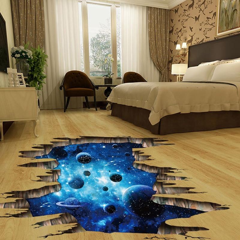 Ceiling Flooring Series Creative 3D Deep Blue Milky Way Planet Wall Stickers Ceiling TVSofa