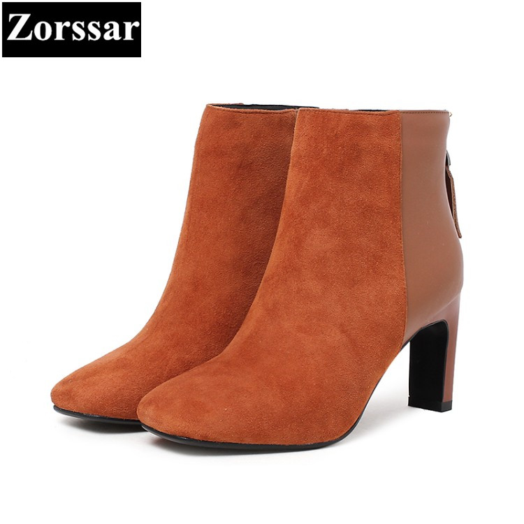 {Zorssar} 2017 NEW fashion High heels Women Martin Boots pointed Toe thick heel suede ankle boots autumn winter female shoes 2017 autumn new suede short boots thick bottom round toe solid color ankle boots women fashion casual shoes