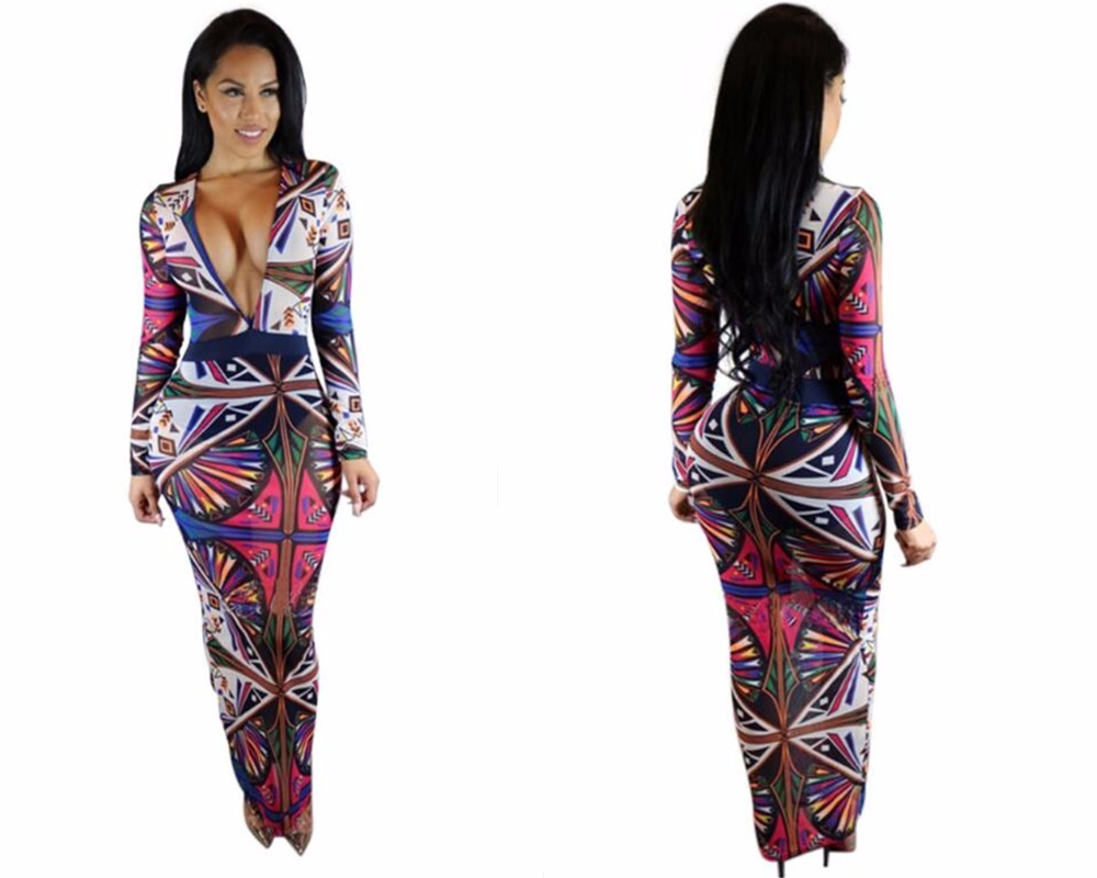 New Ladies Fashion Long Sleeve Art Deco Style V Neck African Dress Long Slim Dress In Dresses