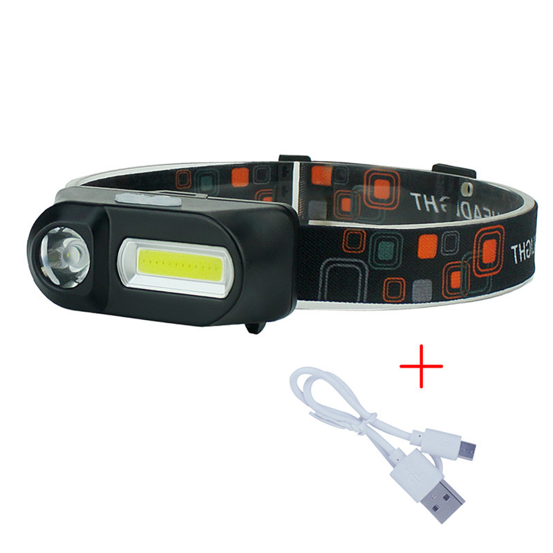 Mini 3 Modes Waterproof COB+XPE LED Head Lamp Flashlight Outdoors USB Rechargeable 18650 Head Torch for Camping Hiking Fishing  Mini 3 Modes Waterproof COB+XPE LED Head Lamp Flashlight Outdoors USB Rechargeable 18650 Head Torch for Camping Hiking Fishing