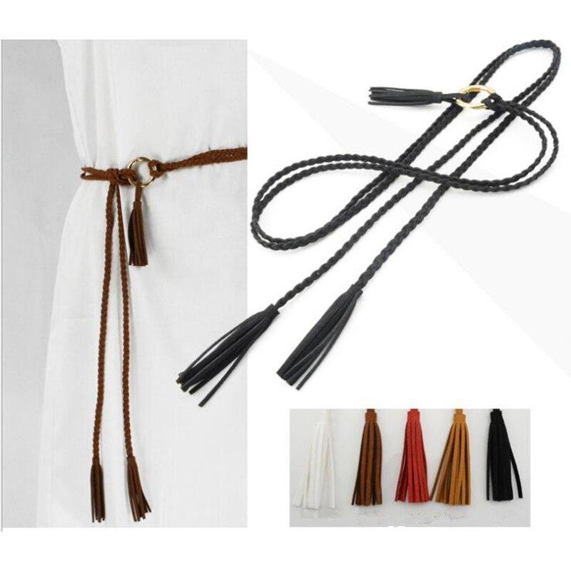HOT N 170cm vintage braided rope pu waist belts for women roupa feminina 2018 designer Harness for female leather on the body
