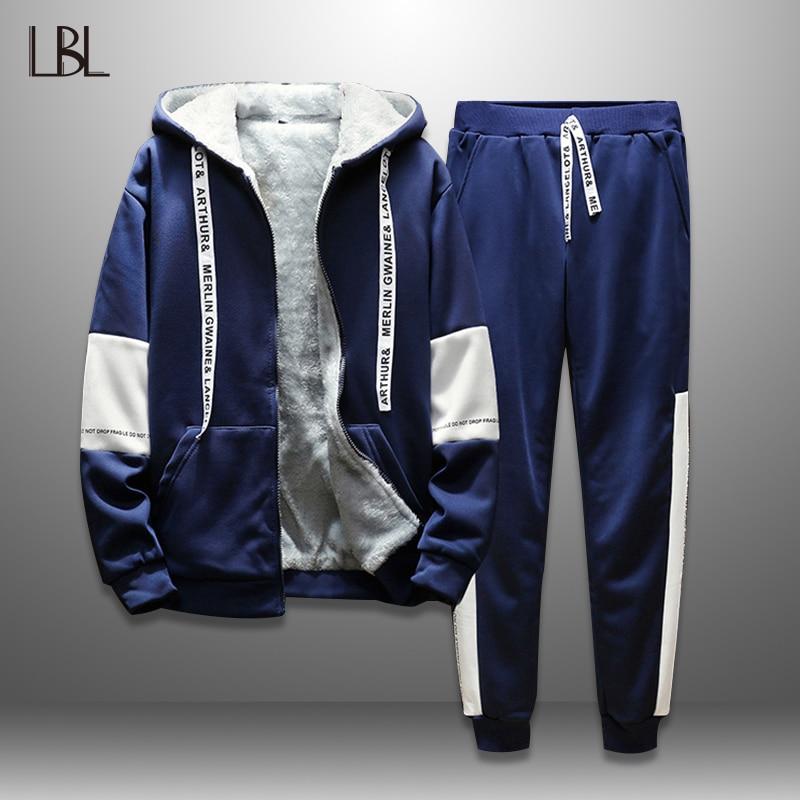 LBL Thick Hooded Tracksuits Men Set Winter Autumn Mens Hoodie Sets Streetwear Moleton Masculino Jacket Sweatpants 2 Piece Suits