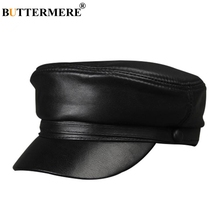 f716181b BUTTERMERE Men Women Military Hat Sheepskin Black Genuine Leather Baker Boy  Hat Army Cap Male Female