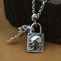 Handcrafted 925 Silver Skull Key Lock Pendant vintage thai silver skeleton Lock pendant pure silver PUNK Pendant