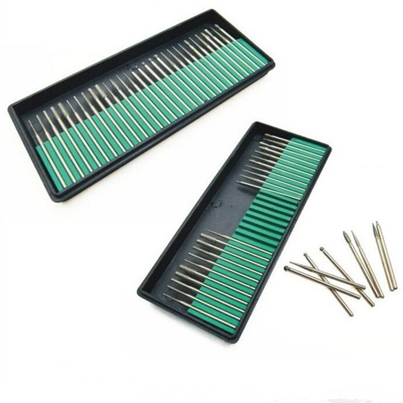 30 PCS  Diamond Burr Drill Kit Bit Set For Grit Stone Jewelry Jade Sculpture Nails Varnish Grinding With Storage Box New