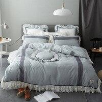 Luxury Princess Style Ruffles Cotton Denim Small Fresh Lace Bamboo Bedding Set 4 Pcs Set Duvet