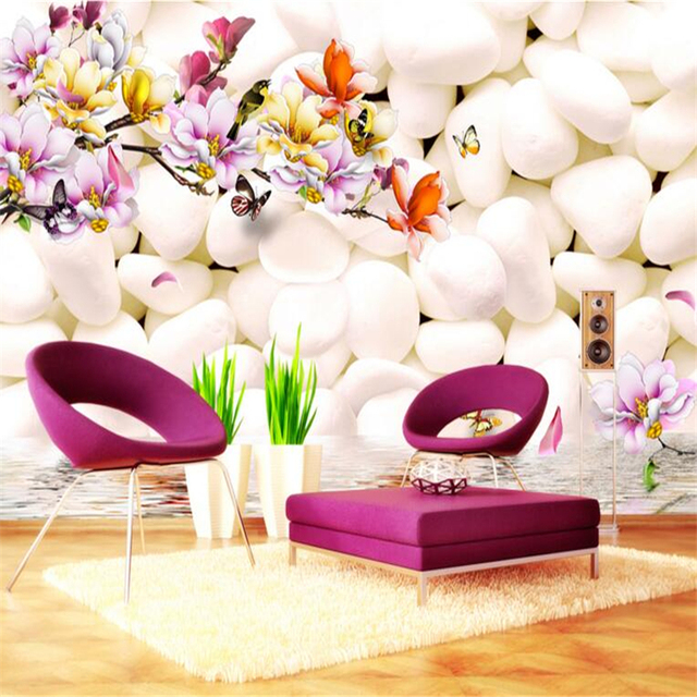 Beibehang 3D Wallpaper Photo White Pebble Magnolia Flower Color Carved Living Room Bedroom TV Murals