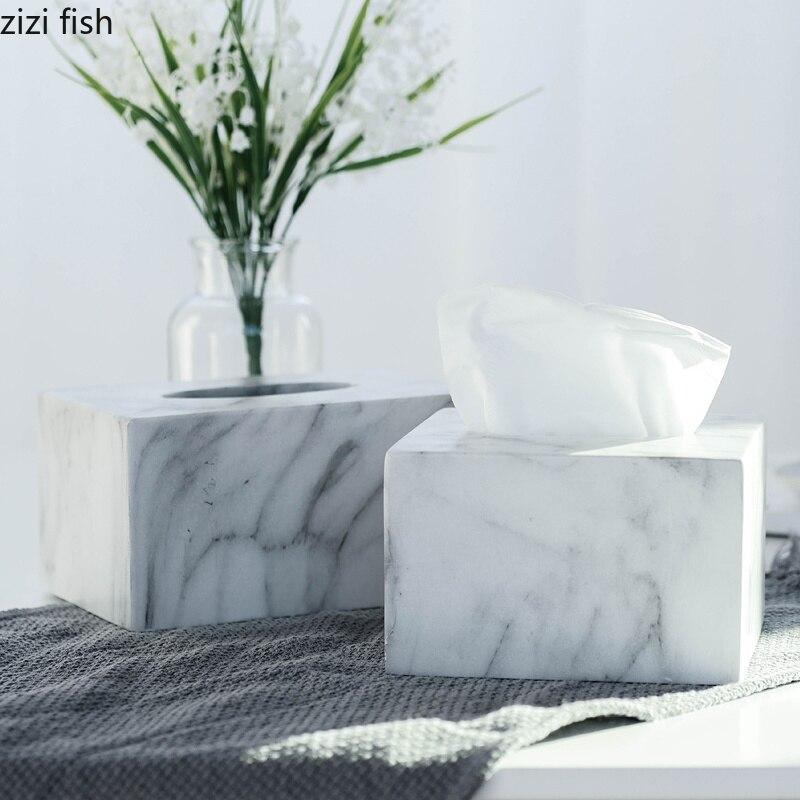 Boîte à mouchoirs en marbre résine moderne maison serviettes de voiture porte-serviettes boîte organisateur de maison outils de décoration Type de siège serviettes en papier