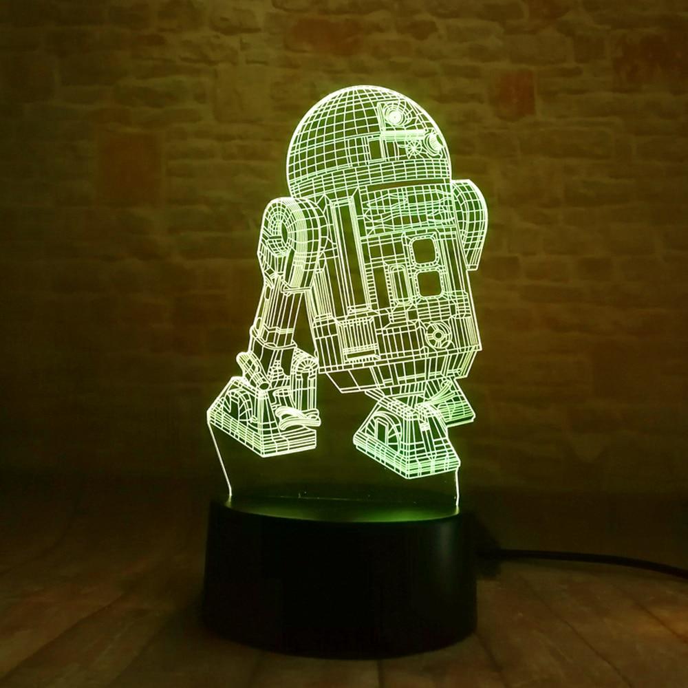Star Wars Legends Robot R2D2-B 3D 7 Rəng Gradient Gecə Yüngül - Gecə işığı - Fotoqrafiya 6