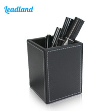 Square PU Leather Pen Pencil Holder Desk Organizer Office Desk Accessories A220 Pen Stand Pencil Box