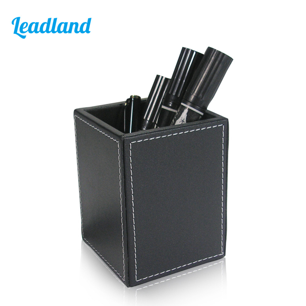 Square PU Leather Pen Pencil Holder Desk Organizer Office Desk Accessories A220 multifunction black pu leather desk organizer sationery pencil pen holder storage box container kalemlik office accessories
