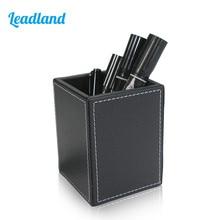 Square PU Leather Pen Pencil Holder Desk Organizer Office Desk Accessories A220