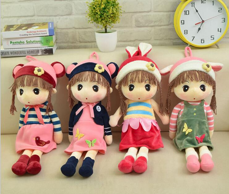 45cm 1pc Cute Cartoon Baby Girl Doll Plush Toy for children girls Birthday Gift dolls 9pcs girl cartoon birthday candle