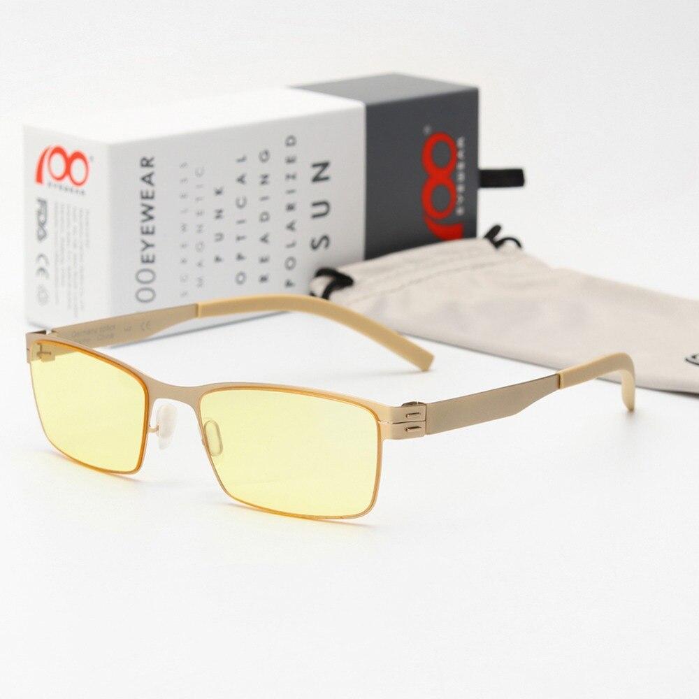 100eyewear Screwless Anti Blue Light Ray Blocking Computer Glasses Women Men Blue Ray Block Protective Eye Optical Eyewear Frame