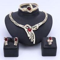OUHE Jewelry Sets For Women African Beads Wedding Accessories Bridal Crystal Costume Necklace Earrings Bangle Ring Jewelry Sets