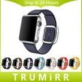 Correa de piel genuina de granada para iwatch apple watch 38mm 42mm banda de la muñeca moderna correa de hebilla magnética pulsera multi de los colores