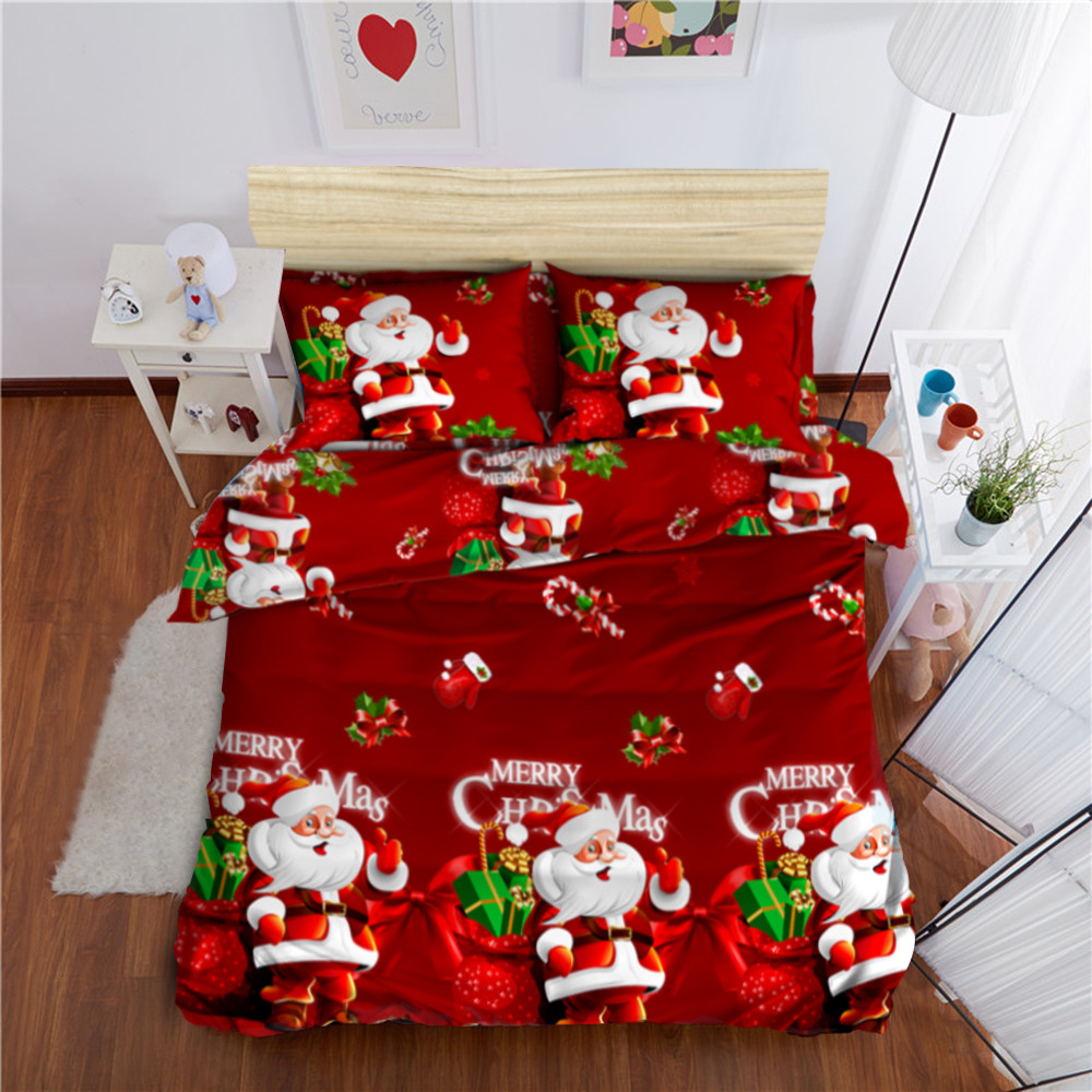 Christmas Festival Cartoon Images.Us 31 88 45 Off Merry Christmas Festival Bedding Set Cartoon Santa Claus Duvet Cover Pillowcase Bed Sheets Bed Linens New Year S Gift 4pcs D45 In