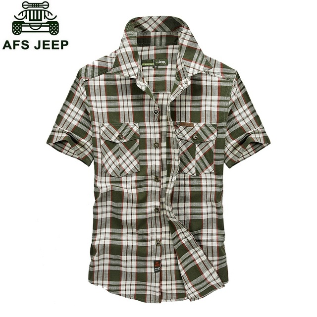 2016 New Arrival AFS High Quality Men's Plaid Shirts Solid Cotton Short Sleeves Brand Fashion Casual Shirts Plus Size M-5XL