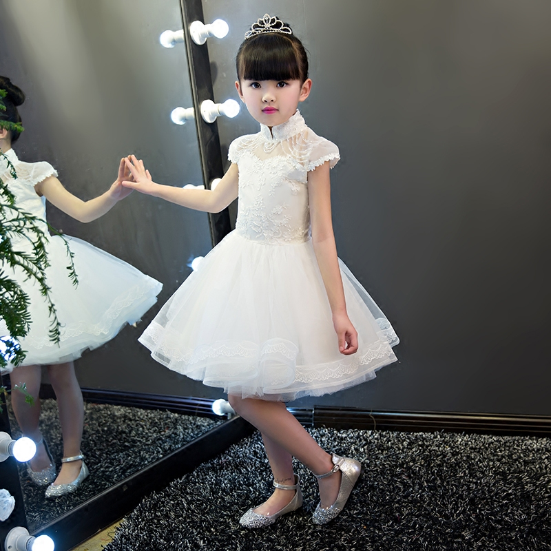 2017 New Arrival Children Girls Wedding Party Dress High Quality Luxury Kids Cute Sweet Lace Piano Plays Dresses Summer Dresses high quality women pleated summer dress 2017 new runway designer vintage elegant green lace bird embroidery maxi party dresses