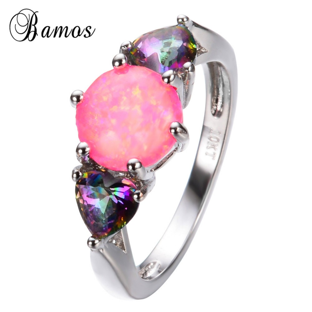 New Fashion Multi color Heart Pink Fire Opal Ring Gold Filled ...