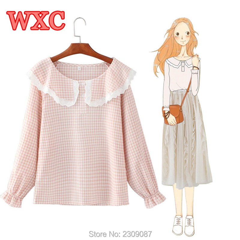 Harajuku Women Shirt Japanese Style Mori Girls Peter Pan Collar Lace Plaid Shirts Preppy Style Teens School Blouse Tops WXC