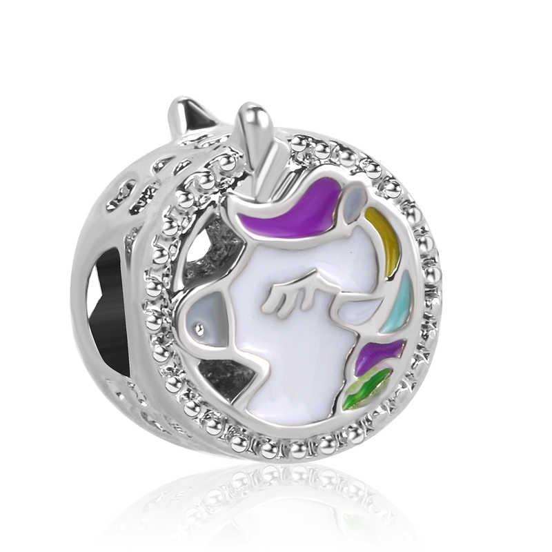 7a41a7dca 2018 NEW free shipping 1pc silver Unicorn diy big hole bead Fits European  pandora Charm Bracelets