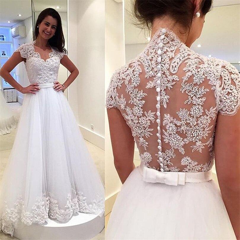 Vestidos De Noiva Com Renda New V Neck Cap Sleeve White Lace Wedding