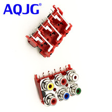 10Pcs 6 hole RCA Female Stereo audio Jack AV Audio input socket Connector Lotus row Amplifier Interface Signal connection AQJG(China)