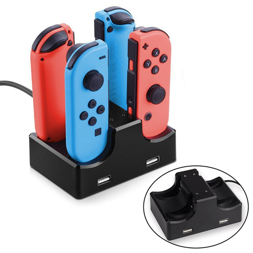 4-Controllers USB Charging Dock Station Charger Stand For Nintend Switch Joy-Con For Sony PS4 Video Game Console