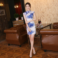 Women Slim Chinese Cheongsam Dress For Party Lady Elegant Chinese Traditional Dress Short Blue And White