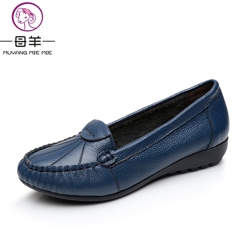 MUYANG MIE MIE Plus Size 2018 Women Flats New Fashion Genuine Leather Flat Shoes Woman Soft Outsole Single Shoes Women Shoes muyang mie mie 2017 new fashion women flats rhinestone genuine leather flat shoes woman casual shoes soft round toe women shoes
