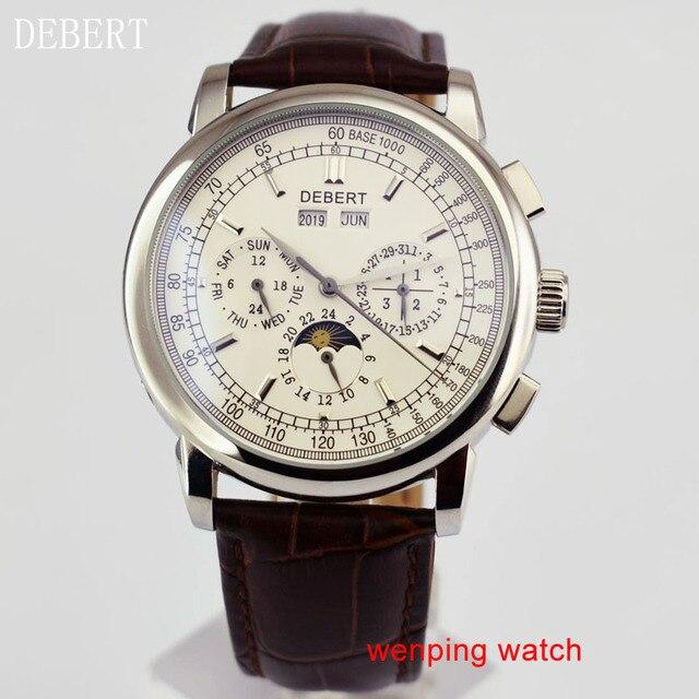 """Debert 42 מ""""מ חיוג לבן מקרה פלדת ירח שלב אוטומטי גברים שעונים לE2481"""
