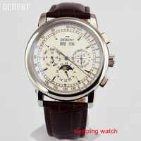 をdebert 42ミリメートルホワイトダイヤルムーンフェイズ鋼ケース自動メンズ腕時計e2481