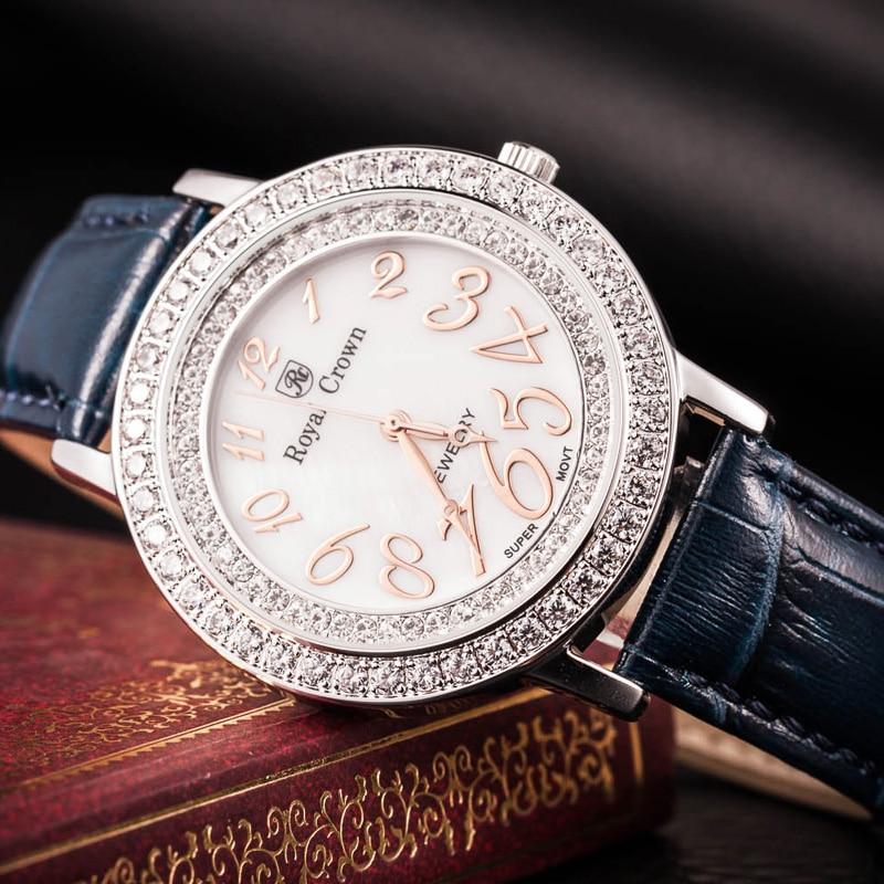 Royal Crown Large Lady Women's Watch Japan Quartz Crystal Hours Fine Fashion Dress Bracelet Leather Luxury Rhinestone Gift