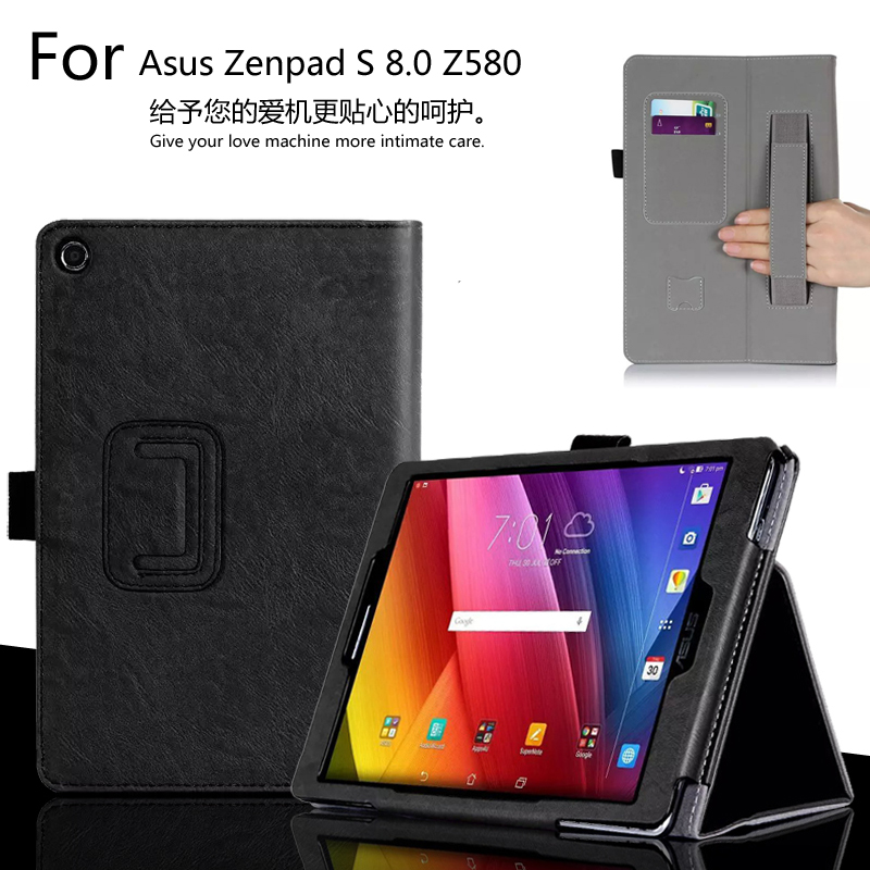 For ASUS Zenpad S 8.0'' Z580 Z580C Z580CA 8.0 inch Tablet Luxury Leather Card Wallet Hand Strap Stand Case Cover for asus zenpad s 8 0 z580c case multiple viewing angles ultra compact slim card holder hand strap stand case cover