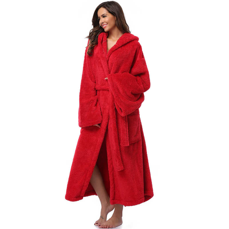 db9218daf0 ... Winter Thick Warm Women Robes 2018 Coral Fleece Sleepwear Long Robe  Woman Hotel Spa Plush Long ...