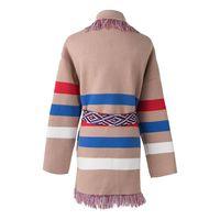 Hot Sale Thick Cape Tassel Lapel Wool Coat Jacket Color Block Striped Knit Jumper Runway Poncho