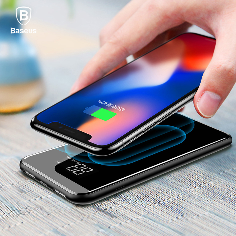 Baseus LCD 8000 mAh QI cargador inalámbrico 2A Dual USB Power Bank para el iPhone X 8 Samsung S9 cargador de batería 5 W cojín de carga inalámbrico