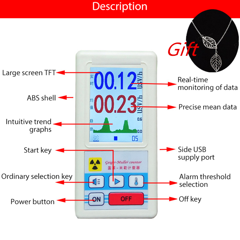Personal Dosimeter Geiger Counter Nuclear Radiation Detector Beta Gamma X-ray tube Marble Tester Radioactive Detector