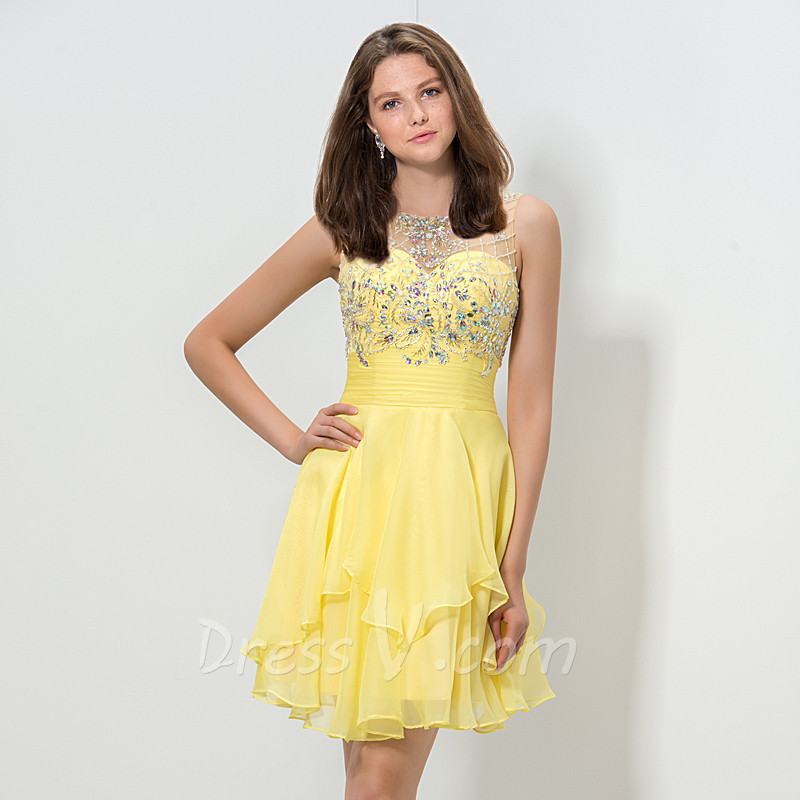 Aliexpress.com : Buy 8th Grade Graduation Dresses Yellow Cocktail ...