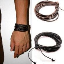 Монохромный росписью плетеной чисто тканые веревки кожаные браслеты кожаный браслет ручной
