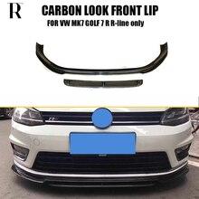 MK7 Carbon Fiber Look Front Bumper Lip Spoiler for Volkswagon Golf 7 R & R-line 2014 - 2017