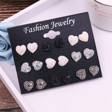 New style Heart Shape stud earrings set for women hot-selling cute mixed Color imitation earring sets 9 pairs