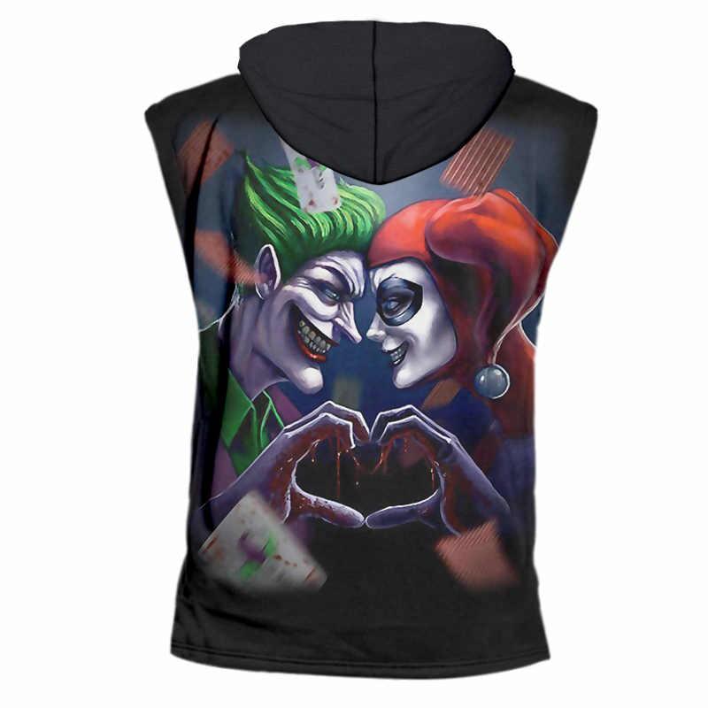 CJLM мужские летние худи без рукавов Прохладный печати Джокер клоун Футболки с капюшоном Повседневное кофты человек бренд Спортивная одежда Костюмы