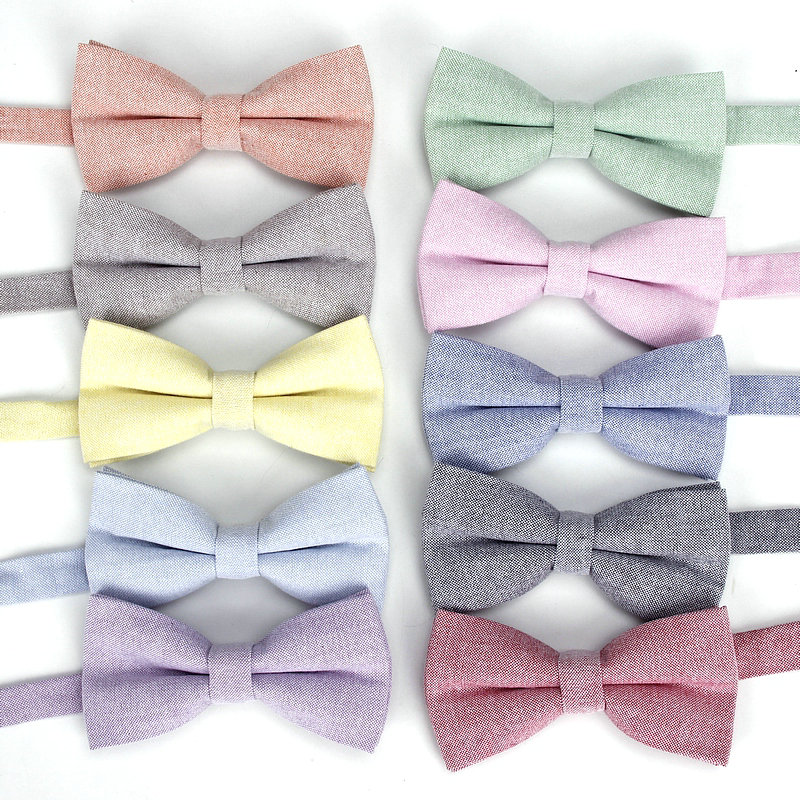 2019 Brand New Men's Red Blue Gray Solid Color Cotton Bow Tie For Man Wedding Groom Fashion Bowtie Butterfly Gravats Corbatos